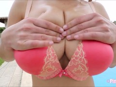 Stunning Buxom Katarina Angel Gets Without Bra And Gobbles Her Puffies To Taunt You