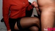 Work pantyhose Secretary jerks off new boy at work until cum on crossed legs in pantyhose 9 cum on tits
