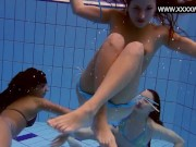 Swimming pool threesome horny babes