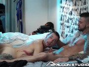 Roommate Walks In On Tatted Hunk's Primal Fuck As Face And Cock Is Ridden - FalconStudios