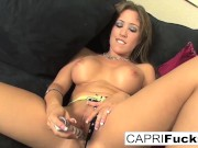 Capri gets off playing with a wet pussy!