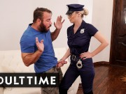 Busty Blonde Babe in Uniform Caught Guy Masturbating