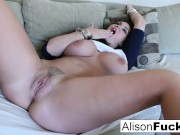 Alison rubs her tits before herself!