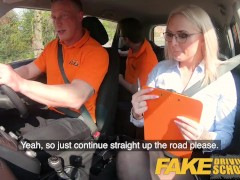 Fake Driving College Louise Lee Splashing After A Rock-hard Pulverize And Frigging In A Car