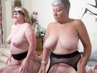 Two in need of sex matures with immense jugs are having fun with groupsex with mates