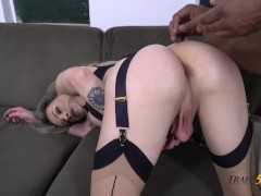 Shemale Blonde Anal Pummeling with Big Black COck