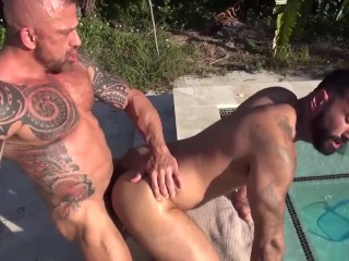 Jon Galt and Hunk Pool Guy Bareback Each Other's Hungry Holes
