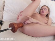 Petite Teen With Tiny Titties Destroys Her Small Anus With A Giant Orange Brutal Dildo Fucking Machine