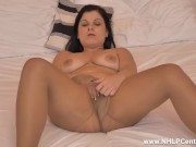 Curvy Babe Belisa Masturbates With Her Big Dildo In Torn Sexy Pantyhose