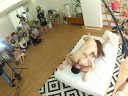 JAV Milf Chisato Shouda foreplay while real amateur wives watch behind the scenes