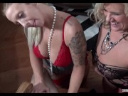 Blonde wives in sexy lingerie take turns in sucking cock on knees in foursome orgy