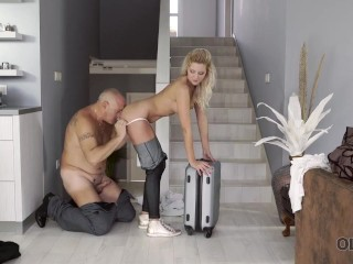 OLD4K. Young chick makes all dirty dreams of old man come true