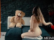 Cute girl with sexy body masturbates watched by giant teddy bear