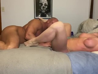 Hot muscle couple POV Eats pussy and fucks POV cumshot