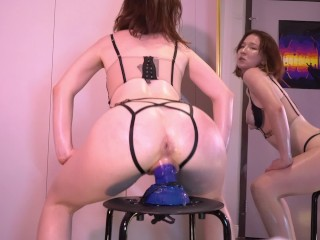 Oiled Up Babe Squatfucks and Squirts on Bad Dragon Dildo