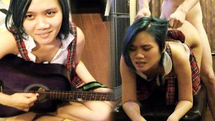 Horny Asian Music Student with Blue Hair Fucks Teacher to Pass Exam