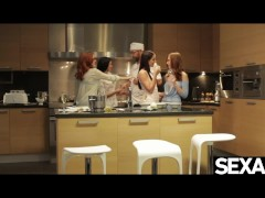 Horny lesbian cooking students are hungry for each other's pussy