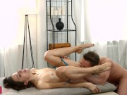 The guy fucks her tight little asshole in various positions