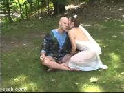 Hot Fantasy Love Making For Horny Blonde Seductress And Bald Male Lover