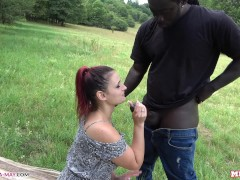 Melina's first BBC - from the meadow to the stairwell (creampie)