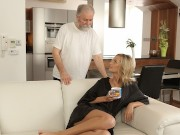 OLD4K. Bearded old guy fingers wifes twat before shoving rod into it