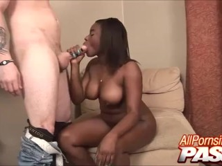 black step sis gives a blowjob to white step bro