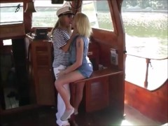 Michaela and Hana sex on the boat in the most beautiful lake having fun with sex toy