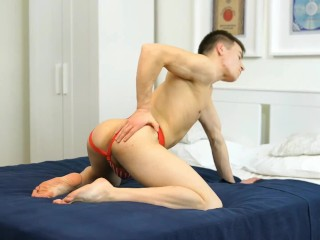 One hand jacks his dick and the other slaps at his ass, teasing his hole.