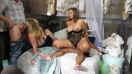 Blonde swinger MILFs enjoying two hard dicks and sticky cumshots in homemade amateur video