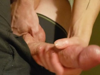 Sexy lubed handjob takes veiny muscular penis from LIMP  to LAUNCH!