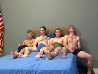 Four Army Hunks Raw Fuck Each Other