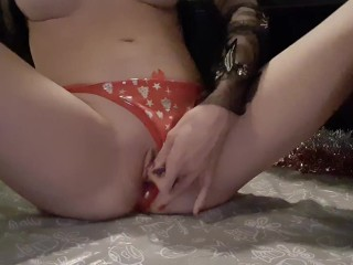 Christmas intense dubbele squirting orgasm with my new Gift.
