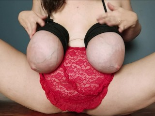 Playing with rope and tying my big saggy tits and showing huge veins and areolas