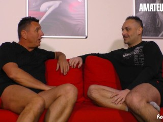 ReifeSwinger – Gina Blonde Horny German Bitch Sucks And Fucks Two Lucky Guys
