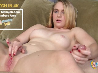 Do NOT MISS this barely legal Texas Amateur Blonde Girl's First Porno Jerking Big Cock Dude For Big Jizz Blast!