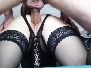 Small pussy of amateur goth girl filled in with big cock.