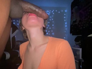 Snuck him in to give him a Midnight Blowjob