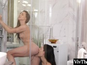 Beatiful lesbians get extra wet in the shower
