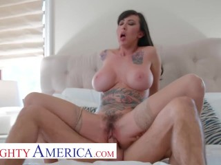 Naughty America – Lily lane wants to take a ride on a hard cock and be showered with cum