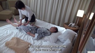 Japanese Hotel Massage Covert Masturbation Before Therapist Helps Out With Handjob and More