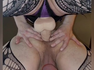 Mistress pegging me deep in my manpussy strapon strap on huge dildo femdom