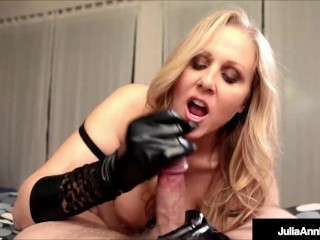 Mature Busty Dirty Talking Blonde Julia Ann Uses Black Shiny Gloves On You!