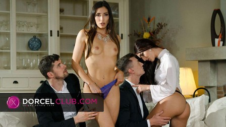Hot foursome with two french brunettes