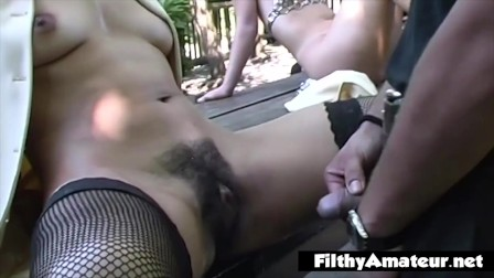Ass fuck and piss on hairy pussy in vintage amateur orgy