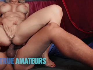 True Amateur – Big tit blonde rides bfs big fat cock in a tent on vacation outdoors