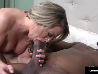 Fiend Perverted Blonde Carmen Valentina Gets Cum In Her Meaty Hairy Pussy!