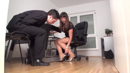 office chief of a company want him take a look at her shoes