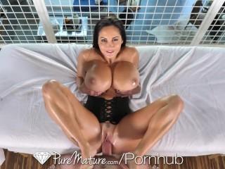 PUREMATURE Big Tit Brunette Fucks Therapist