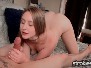Strokies – Teen Laney Grey Jerks Daddy's Cock POV Facial