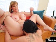 Cunt Fucking Cougar Sara Jay Uses Her Strapon With Brunette Ryan Smiles!